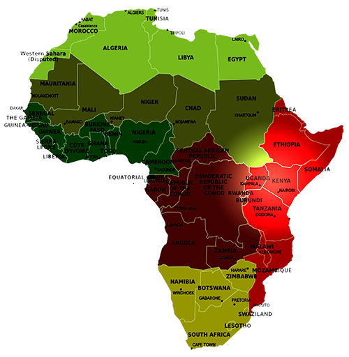 map of africa hi lighting kenya and uganda