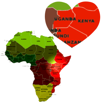 Map of Africa with heart shape hi hilighting Kenya and Uganda East Africa