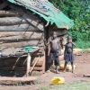 African children by a shack