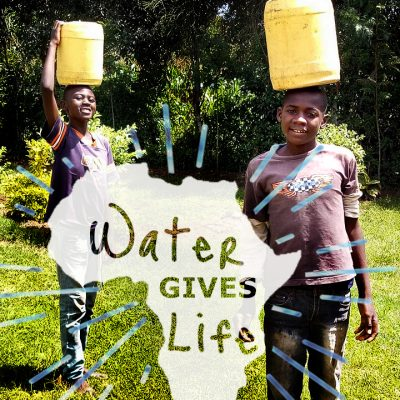 Water Gives Life. Africa boys with water buckets on their heads