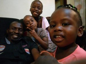 Franklyn and children in Uganda